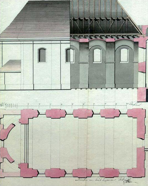 Церква Зіслання Св. Духа. 1642 р. Обміри інж. Ф. фон Бінера від 1795 р.