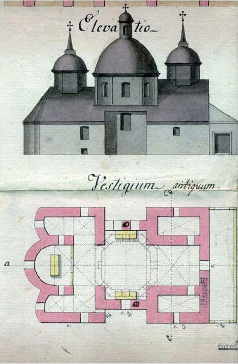 Проект розбудови церкви Зіслання Св. Духа запропонований інж. Ф. фон Бінером. 1795 р.
