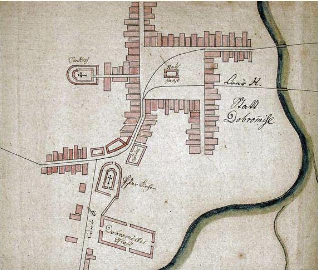 Добромиль на плані 1790 р. Видно Ринок, церкву і костел